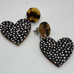 Handpainted heart earrings