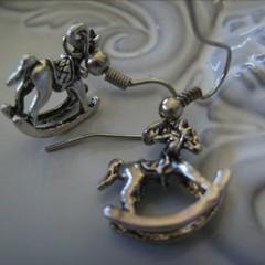 rocking horse earrings charm silver tone earring