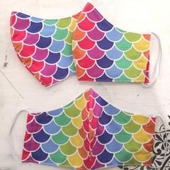 Reusable Fabric Face Mask - Rainbow Mermaid K