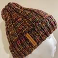 Purple men's or ladies knitted winter beanie rainbow