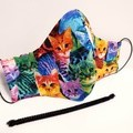 'BRIGHT CATS' 3 Layer Face Masks -Washable & Reusable