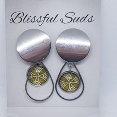 Handmade 12mm Glass Stud Drop Earrings