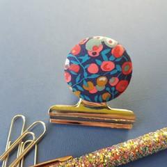 Navy & Mustard Liberty Spot Magnetic Bulldog Clip