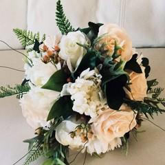 Salmon,White Rose Wedding Bouquet