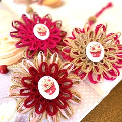 Natural Fibre Flower Embellishment Favour Tag Ornament Cupcake Kitchen Decor