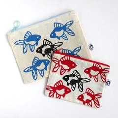 Screen Printed Goldfish Zipper Pouch • Both Sides Printed