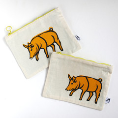 Screen Printed Piggy Zipper Pouch • Both Sides Printed