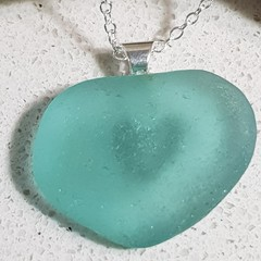 Seaglass Blue Heart Necklace