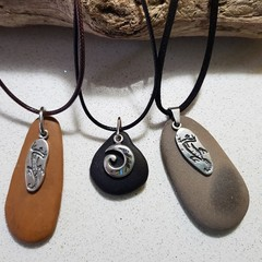 Natural Sea Pebble & Sea Glass Necklace - Fathers Day Gifts!