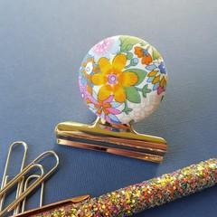 Yellow & Green Liberty Floral Magnetic Bulldog Clip