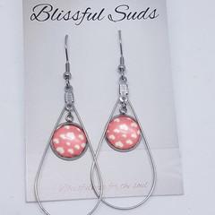 Handmade 12mm Glass Hook Drop Earrings Stainless Steel