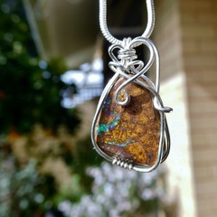 Sparkly Boulder opal pendant, Sterling silver wire wrapped