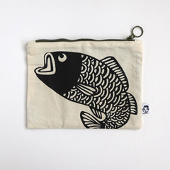 Screen Printed Jumping Fish Zipper Pouch
