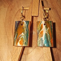 Cypress wood and coloured abstract earrings