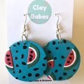 Watermelon dangles - polymer clay earrings