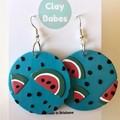 Watermelon dangles - polymer clay earrings