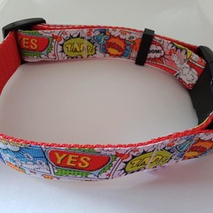Super hero print adjustable dog collars medium / large