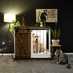 Fettercairn Wood Dog Crate with Barn Door (S, M, L)