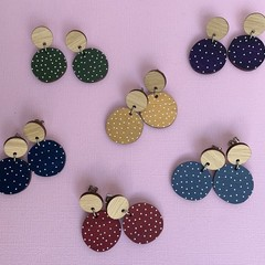 Hand Painted Dots Wooden Earrings
