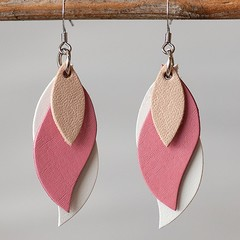 Handmade Kangaroo leather leaf earrings - Natural Beige, Pink and White