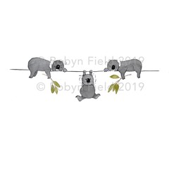 Australian Artwork Print - Sleepy Koalas