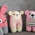 Handmade Animal Softies  pack - Teddy, Sheep, Bunny