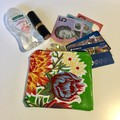 Oilcloth green blue red white yellow print coin purse