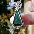Andamooka Matrix Opal small pendant sterling silver wire wrapped green