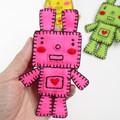 Handmade Felt Rabbit Robot Brooch