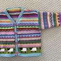 Aqua sheep Cardigan  -  Size 6-12 months - Hand knitted
