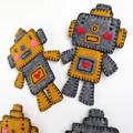 Handmade Felt Robot Brooch