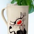 Kitty Kat  abstract, cat 10oz white Lincoln bone china mug, coffee mug, cute,