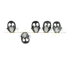 Australian Artwork Print - Penguins on a wire