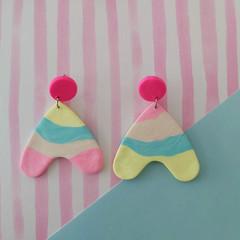 Rainbow Hanging Hearts - Large Earrings