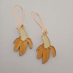 Gold enamel banana charm earrings