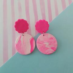 Flowery Pink Texture - Large Earrings