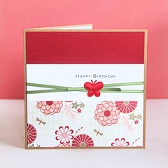 Handmade Happy Birthday Card,  Red Oriental Florals, For Her, For Him