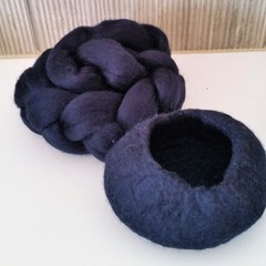 Navy Blue Wet Felted Bowl Kit