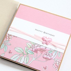 Handmade Happy Birthday Card,  Pink Oriental Florals, For Her, Mum Sister
