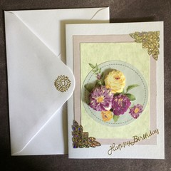 3D Flowers on a Plaque Birthday Card