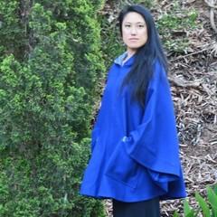 Bright Blue Wool Blend Poncho