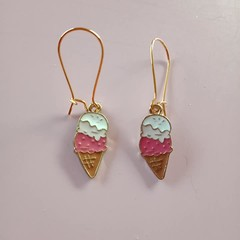 Gold enamel ice cream charm earrings