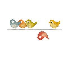 Australian Artwork Print - Birds on a wire