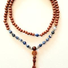Sodalite Gemstone 108 Bead Om Mala Boho Necklace