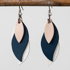Handmade Kangaroo leather leaf earrings - Beige, Navy and White