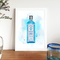 'Bombay Sapphire Gin' Watercolour Digital Painting, Instant Download Printable