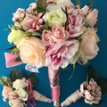 Coral Pink Rose,Peonie Faux Wedding Bouquet Set