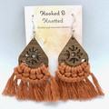 Walnut terracotta macrame dangle earrings gift for her