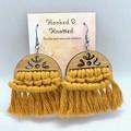 Macrame mustard yellow dangle earrings gift for her