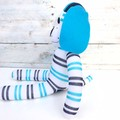 'Darcy' the Sock Dog - white with navy blue & turquoise stripes- *MADE TO ORDER*